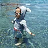 正韓兒童連體泳衣男童防曬小童長袖鯊魚寶寶中大童溫泉服游泳衣【全館89折低價促銷】