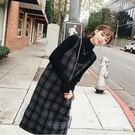 毛衣裙秋冬套裝時尚港味格子背帶裙毛呢洋裝...