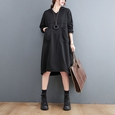 漂亮小媽咪 文藝 實拍 韓系 大口袋 洋裝【D3690】寬鬆 連帽 加大碼 連身裙 長袖洋裝