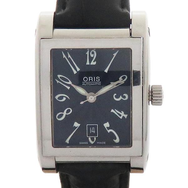 ORIS Rectangle 黑色面盤皮革腕錶 23-63397【二手名牌 BRAND OFF】