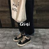 韓版學生港味復古帆布鞋子女百搭韓原宿風板鞋超火 店家有好貨