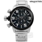 elegantsis / ELJF48K-OB03MA / 精密狙擊風格三環不鏽鋼腕錶 深灰藍x黑框 48mm