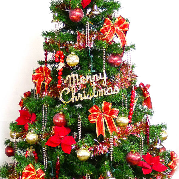 【摩達客】台灣製6呎/6尺(180cm)豪華版裝飾綠聖誕樹 (+紅金色系配件+100燈鎢絲樹燈2串)(本島免運費)