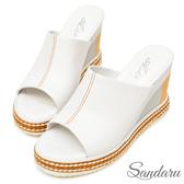訂製鞋 全真皮輕量一字寬版配色楔型拖鞋-白色下單區