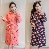 618大促 冬天睡袍女加厚加長款珊瑚絨夾棉法蘭絨冬裝可愛加絨浴袍式睡衣女