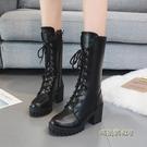 英倫風馬丁靴女粗跟高跟鞋黑色帥氣繫帶機車靴新款中筒拉錬騎士靴「時尚彩虹屋」