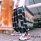 ins超火的寬松男女嘻哈九分束腳格子工裝燈籠褲蘿卜褲【時尚大衣櫥】