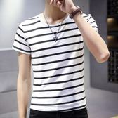 短袖T恤男 韓版男短T 男士修身圓領時尚夏季新款青年條紋潮流打底半袖體恤休閒男裝上衣cs70