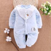 (交換禮物)新生嬰兒兒衣服秋冬0-3個月純棉加厚寶寶連體衣保暖棉衣初生冬裝