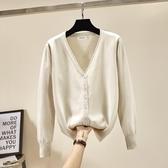 毛衣女開衫薄款春秋新款純色短款單排扣針織衫韓版大碼女外套 亞斯藍