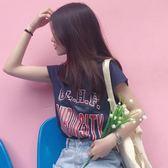 學院風寬鬆無袖圓領背心字母印花短款T恤上衣女裝潮    蜜拉貝爾