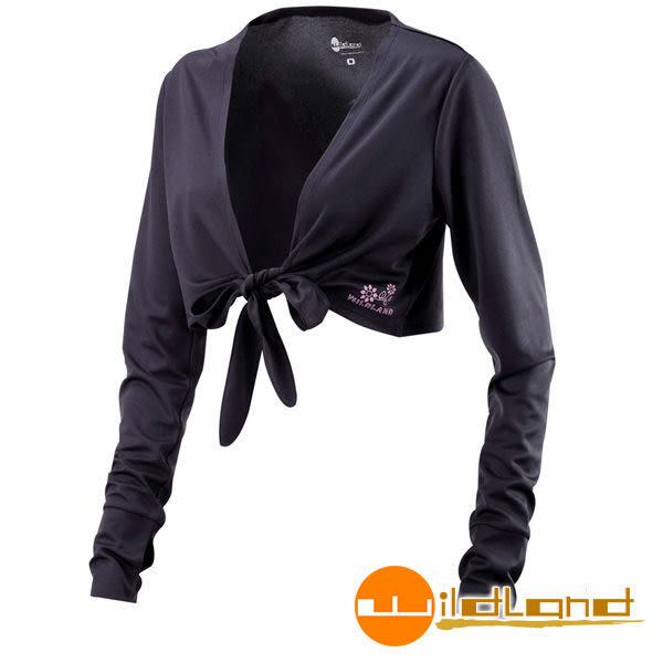 Wildland荒野 W1805-54黑色 女 抗UV排汗綁帶袖套衣/吸濕排汗/快乾/防曬外套/單車休閒防曬衣