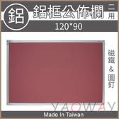 【耀偉】鋁框布告欄 120*90 飾布-磁鐵&圖釘(白板/黑板/行事曆白板/磁性白板/吸鐵白板)