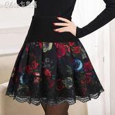 半身裙蓬蓬裙女百搭褶皺歐根紗鬆緊高腰裙褲顯瘦「Chic七色堇」