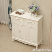 歐式鞋櫃客廳門口鞋櫃白色實木大容量門廳櫃玄關櫃簡約家用儲物櫃  (橙子精品)