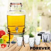 【日本FOREVER】派對玻璃果汁飲料桶(含桶架)5L贈玻璃水4件套組