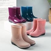 雨鞋 四季雨鞋女短筒成人加絨雨靴時尚防水鞋女士防滑中筒膠鞋套鞋保暖 至簡元素