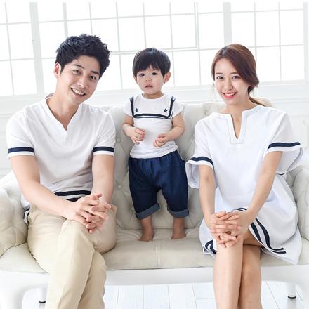 韓版白色水手學院風短袖上衣親子裝(男大人)