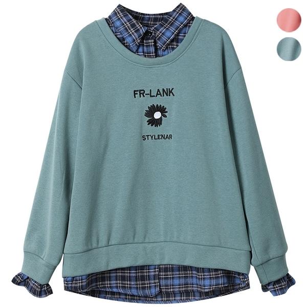 假兩件刺繡格紋拼接T恤(2色) L~5XL【064845W】【現+預】-流行前線-