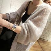 春夏純色針織開襟女中長款寬鬆長袖外搭上衣空調防曬衫薄款外套潮   LannaS