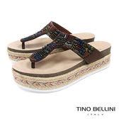 Tino Bellini 巴西進口民族風情珠飾藝術厚底夾腳涼拖鞋 _ 咖 B83238 歐洲進口款