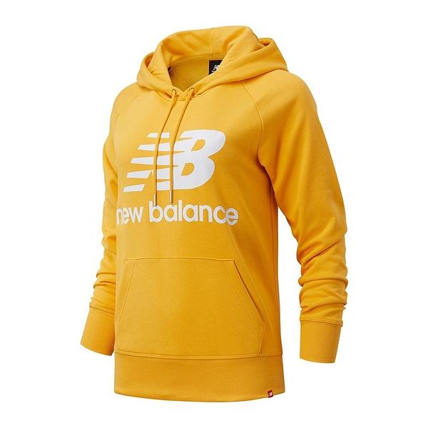 New Balance 女款 長袖 連帽 休閒 帽T 基本款 大LOGO 黃 AWT03550ASE