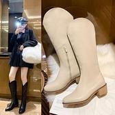 長靴歐風美長筒靴女秋季新款百搭尖頭粗跟英倫風切爾西女靴子
