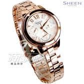 SHEEN SHE-3059PG-7A 多重指針 經典三針三眼羅馬 女錶 洛世奇水晶元素 玫瑰金 CASIO卡西歐