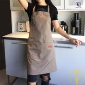 帆布圍裙防水奶茶咖啡店餐廳美甲時尚男女工作服【雲木雜貨】