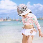 女童 花朵 防曬長袖泳裝+褲裙泳褲  游泳衣 水母衣 泳衣 浮淺 橘魔法 Baby magic 現貨 兒童 童裝