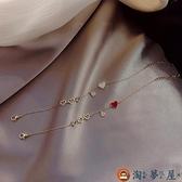 紅色桃心手鏈女本命年手環閨蜜學生信物手飾【淘夢屋】