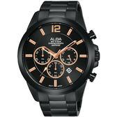 ALBA雅柏 情人最愛是你計時尚男錶-鍍黑/44mm VD53-X352SD(AT3G39X1)
