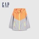 Gap男幼童 活力撞色防雨外套 681575-橙色拼接