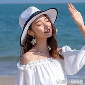 漁夫帽草帽女夏天小清新韓版百搭帽子海邊遮陽沙灘帽防曬太陽漁夫帽 快速出貨