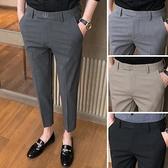 西裝褲 夏季薄款網紅褲子2021新款潮流休閒九分西褲修身小腳9分西裝男褲【快速出貨】
