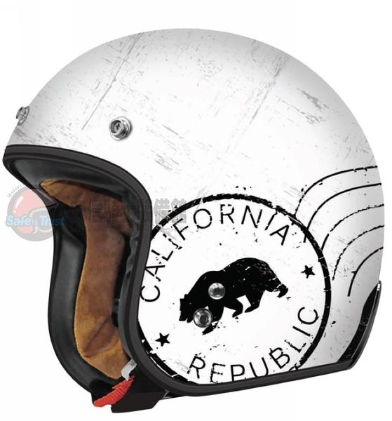 [安信騎士] 美國 TORC T50 彩繪 RUSH 消光 白 半罩 哈雷 復古帽 雙D扣