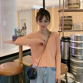 2019秋季新款網紅V領上衣寬鬆長袖開衫短款針織衫外套薄款毛衣女 嬌糖小屋