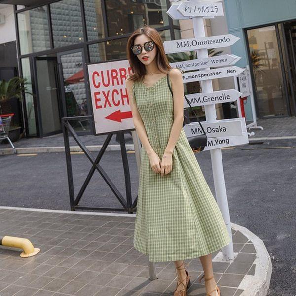 FINDSENSE G6 韓國時尚 夏季 無袖 露背 吊帶裙 甜美 格子 顯瘦 連身裙