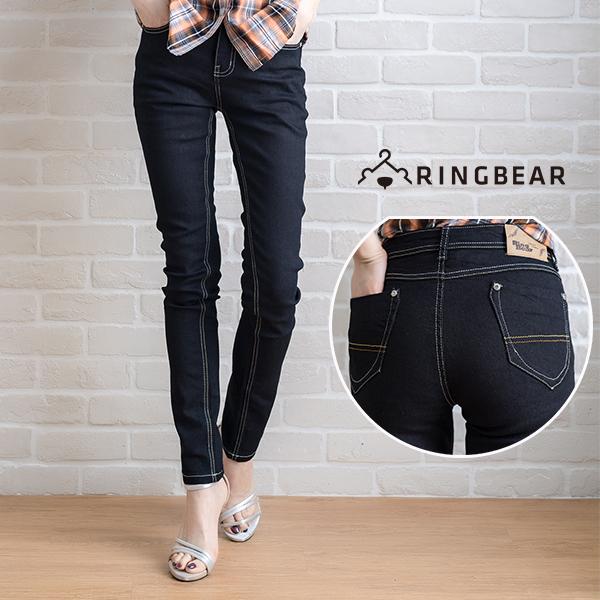 牛仔褲--極致纖細打造完美顯瘦視覺雙口袋素面中腰黑色窄管牛仔長褲(黑S-7L)-N46眼圈熊中大尺碼