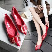 平跟單鞋女新款韓版漆皮尖頭水鑚軟底淺口新娘婚鞋淑女鞋    初語生活