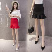 包臀裙新品時尚半身裙魚尾包臀裙一步裙短款修身顯瘦荷葉邊裹裙 薔薇時尚