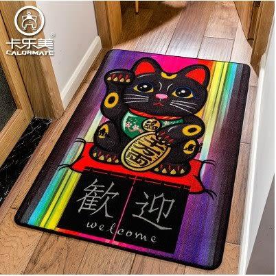 卡樂美日式卡通可愛招財貓入戶進門玄關門廳過道地毯門墊短毛地墊(招財喵喵)