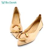 Bo Derek 舒適減壓尖頭平底鞋-杏膚色