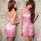 銀白色情趣用品 粉紅繡花露背爆乳旗袍服二件組 角色扮演服 cosplay 連身洋裝