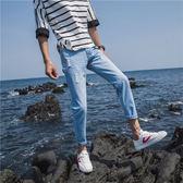 虧本衝量-牛仔褲 夏季男款牛仔褲子修身型破洞超薄款9九分男生小腳8八分短褲韓版潮 快速出貨
