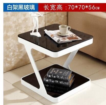 簡約現代鋼化玻璃茶幾創意客廳小方茶幾角幾邊幾沙發小邊桌小邊櫃(70*70*56白架黑玻)