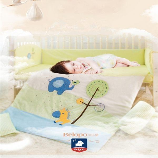 嬰兒床組貼布刺繡八件套