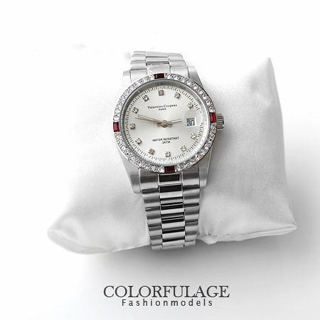 范倫鐵諾Valentino 全不鏽鋼崁入四方紅鑽手錶 送禮自用 柒彩年代【NE974】原廠公司貨