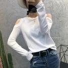 純棉長袖T恤 2020秋裝新款長袖t恤女韓版白色純棉小心機性感露肩上衣打底衫潮 薇薇