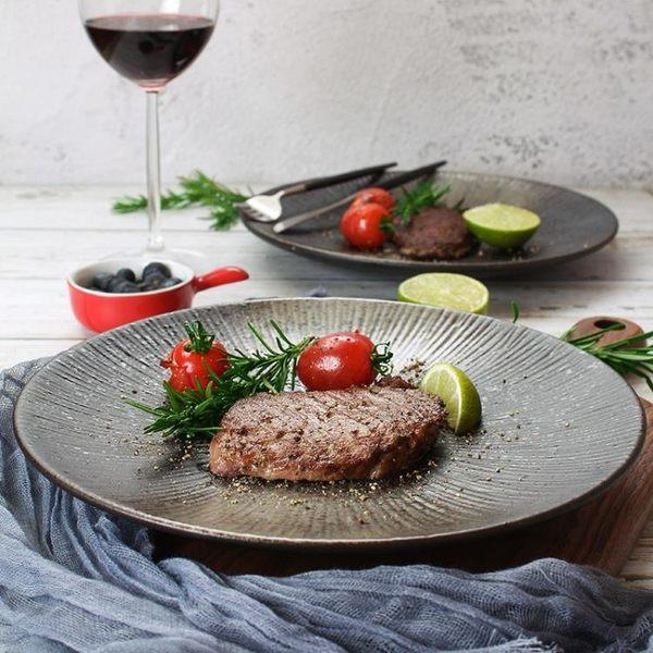 西餐盤 創意盤子日式黑色圓形磨砂陶瓷餐具餐盤菜盤家用個性西餐盤牛排盤